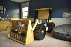 Construction Truck Bed PLANS (in digital format) - perfect for a toddler construction themed room! Help your little boy or girl transition from the crib into a bed he or she will actually enjoy sleeping in. Theyll love it! This digital document is a design guide with step-by-step