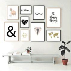 Set de 9 cuadros modernos - Wild and Free - Hoku Deco Diy Room Decor For Teens, Room Ideas Bedroom, Home Decor Bedroom, Diy Room Decor Tumblr, Creative Wall Decor, Creative Walls, Toilet Room Decor, Wall Collage Decor, Cafe Wall