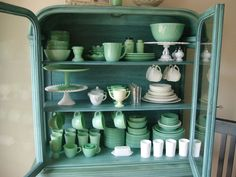 Love the color of this cabinet .Dining room jadeite break front | Flickr - Photo Sharing!