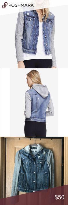 EXPRESS Hooded Denim Jacket Size XS EXPRESS hooded denim jacket with sweatshirt sleeves Size XS. Express Jackets & Coats Jean Jackets