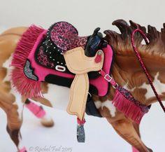 Model Horse Black Natural Leather Pink Western Barrel Gaming Tack Set Breyer Bobby Jo