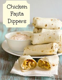 {Baked} Chicken Fajita Dippers - we love these! I ate them cold the next day and they were even good cold!