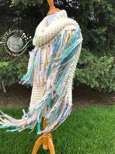 Chunky Knit Scarf/Triangle Knit Scarf/Knit Crochet Fringy Scarf/Long Boho Style Fringy Shawl Scarf/Chunky Boho Shawl Scarf/RTS Crochet Flower Scarf, Crochet Flowers, Knit Crochet, Chrochet, Chunky Knit Scarves, Scarf Knit, Triangle Scarf, Boho Style, Boho Fashion