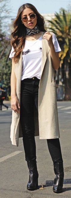 #Street #Fashion | Printed Choker, Cream long Vest, Printed Tee, Blak Denim And Boots |  THE A LENS