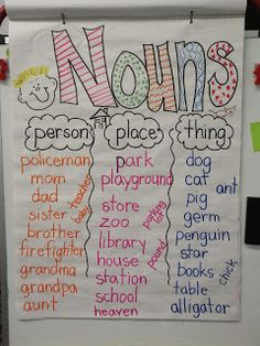 First Grade Fever!: Fall Anchor Charts & a Lil Freebie! This is a great way for kids to learn the different types of nouns. 1st Grade Writing, Teaching First Grade, First Grade Reading, Teaching Reading, Learning, Guided Reading, Grammar Anchor Charts, Anchor Charts First Grade, Reading Anchor Charts