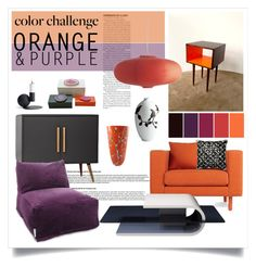"""Orange & Purple"" by gangdise ❤ liked on Polyvore featuring interior, interiors, interior design, home, home decor, interior decorating, Bloomingville, Blu Dot, Dot & Bo and Shirò"