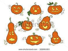 Pumpkin smiles - Halloween special vector set