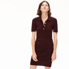 Easy to style and accessorize, this dress version of a casual polo top is slim-fitting in a rich cotton knit with three-quarter sleeves and a softly ribbed shirt collar. Polo Dress Outfit, Black Dress Outfits, Golf Outfit, Lacoste Clothing, Family Outfits, Clothes For Women, Casual, Luxury Clothing, Fred Perry