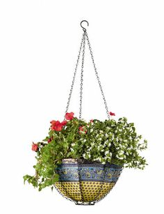 Colorful hanging Art Basket with 4 unique and striking patterns and colors. Basket folds flat for storage. gardeners.com