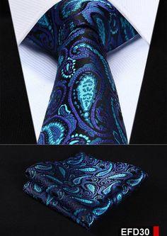 "Floral Stripe 3.4"" Silk Wedding Jacquard Men Tie Necktie Pocket Square Handkerchief Set Suit EFD"