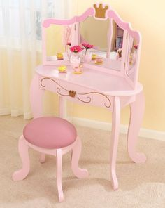 Adorable Princess Vanity & Stool...hum maybe this is one her bday wish list this year...