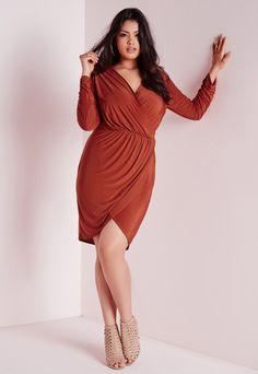 Plus Size Slinky Wrap Dress Rust - Plus Size - Plus Size Dresses - Missguided