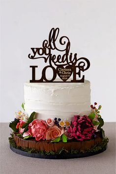 All You Need is Love Wedding Cake Topper Rustic Cake Topper