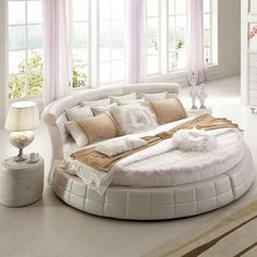 Satin Bedding, Luxury Bedding, Bedding Sets, Trendy Bedroom, Bedroom Sets, Master Bedroom, Circle Bed, Silk Bed Sheets, Bedroom Furniture