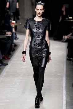 Loewe black embellished short sleeved leather mini dress