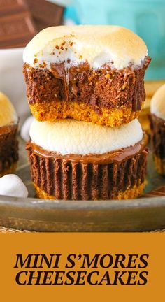 These easy Mini S'mores Cheesecakes are made with a graham cracker crust, chocolate filling, melted chocolate and toasted marshmallows on top! It's such a fun fall recipe – with or without the campfire! Mini Cheesecake Recipes, Best Cheesecake, Melted Chocolate, Chocolate Filling, Pumpkin Recipes, Fall Recipes, Delicious Desserts, Dessert Recipes, Toasted Marshmallow