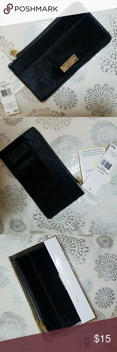 Adrienne Vittadini Velvet Card Wallet NWT Black Velvet Card Wallet- Still in box-Zipper across the top and down the right side-A pocket in the from and in back-Slight imperfections around trimming (Pictured) Adrienne Vittadini Bags Wallets