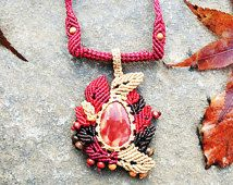 Gemstone Macrame Necklace of Autumn Leaves Macrame Pendant with Mookite Jasper Metal Free Jewelry For Her, Red Beige
