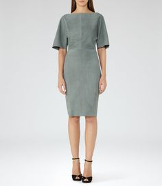 Nola Moss Suede Dress - REISS