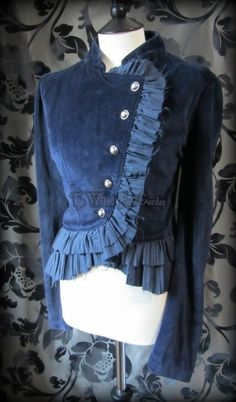 Victorian Steampunk Deep Blue Velvet Ruffle High Collar Riding Jacket 18 Goth | THE WILTED ROSE GARDEN
