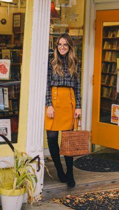 Plaid, mustard skirt, and OTK boots