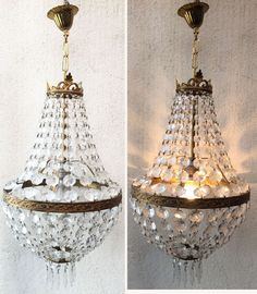 ancien lustre pampille montgolfiere cage cristal verre cabinet de curiosit s pinterest. Black Bedroom Furniture Sets. Home Design Ideas