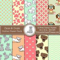 Free Cats and Dogs Digital Papers Pack © PrintablePaperTreats.com (quote) via printablepapertreats.com