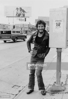 Singer Bruce Springsteen on Sunset Strip 1975 He is in Los Angeles to promote his album Born To Run
