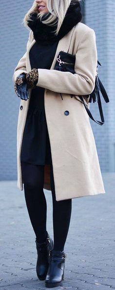 #winter #outfits / All Black - Khaki Coat