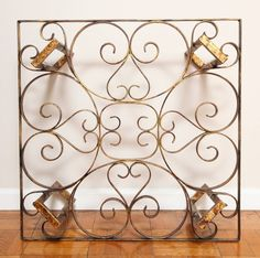 Gilded Wrought Iron Square Coffee Table with Scroll Motif Glass Top 3