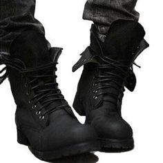 Retro Combat Boots Winter England-style fashionable Men's Short Black shoes