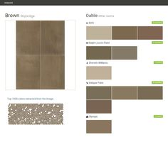 Brown. Skybridge. Other rooms. Daltile. Behr. Ralph Lauren Paint. Sherwin Williams. Valspar Paint. Olympic.  Click the gray Visit button to see the matching paint names.