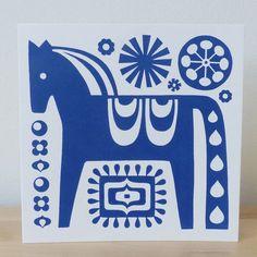 Scandinavian Dala Horse Greeting Card Turquoise Screen Print Hand Made Folk Art Fran Wood Design Folk Art Flowers, Flower Art, Horse Cards, Stencils, Handmade Stamps, Scandinavian Folk Art, Tampons, Pattern Art, All Art