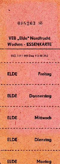 """DDR Museum - Museum: Objektdatenbank - Essenskarten """"Elde"""" Nordfrucht    Copyright: DDR Museum, Berlin. Eine kommerzielle Nutzung des Bildes ist nicht erlaubt, but feel free to repin it!"""
