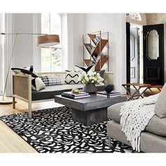 CB2 black and white maze rug