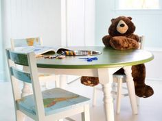 Turn an old kitchen table into an activity/homework station where kids can create, learn and play.