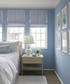 White And Blue Cottage Bedroom Boasts Walls Painted Cornflower Blue Fitted  With Windows Dressed In Blue