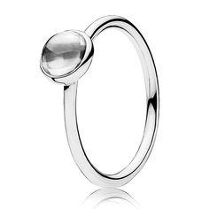Pandora Silver Poetic Droplet Ring 190983CZ
