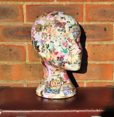 Shabby Chic Style Decoupaged Mannequin Head Wig Hat by Floom, £30.00