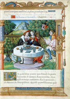 Le repas amoureux Fleur de vertu, XVIe siècle Paris, BnF, Département des manuscrits, Français 1877