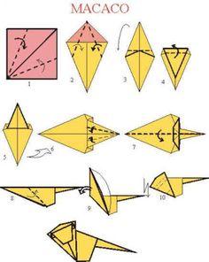 Passo a passo para se fazer um origami de macaco