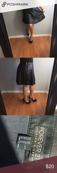 Faux leather forever 21 plus size flare skirt Faux leather plus size. Used once for photoshoot. Forever 21 Skirts Circle & Skater