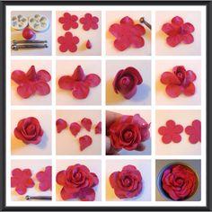 Hallo meine Lieben, heute habe ich noch eine Anleitung für eine einfache Rose die man mit den Petal Ausstechern zaubern kann. Hier habt ihr eine kleine Übersicht der Schritte : Folgendes braucht ih…