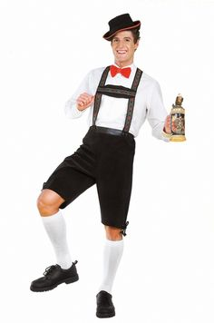 Men 5-Piece Traditional Party Clothing Set Ledershosen Shirt Socks Hat Glasses