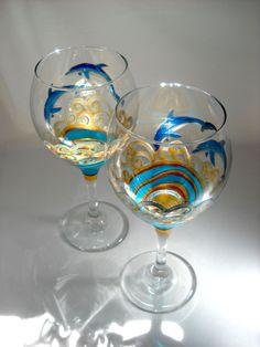 Glasses Hand Painted Wine Dolphin Turquoise by skyspirit8studios, $65.00