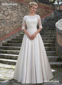 Sweethear+A-line+Pincess+Wedding+Dress+with+Removable+Lace+Jacket If+you+wanna+make+some+change,+pls+feel+free+to+contact+us. Fabric:+Satin,+Lace Embellishments:+Cummerband Hemline:+Floor+Length Back+Details:+Zipper+with+Buttons Shown+Color:+White Available+Color:+As+Picture+or+Custom+Co...