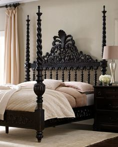 """Maitland Smith Four Poster Bed Maitland-Smith """"Phillips"""" King Poster Bed Bedroom Bed, Dream Bedroom, Bedroom Furniture, Home Furniture, Furniture Sets, Bedroom Decor, Bedroom Black, Master Bedroom, Furniture Companies"""