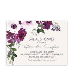 Purple Plum Watercolor Floral Bridal Shower Invitations featuring hand painted watercolor flowers - perfect for rustic or boho chic wedding showers.