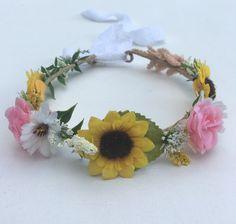 Flower Crown Flower Girl Crown Hippie Headband by FlowerHungry