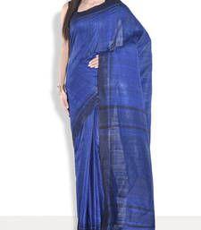 Buy Blue hand_woven handloom saree with blouse handloom-saree online
